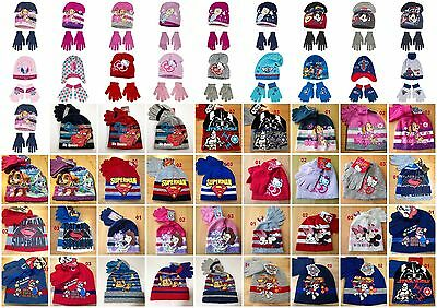 Boys Girls Kids Character Hat And Gloves Sets age 3-9 years  52-54cm