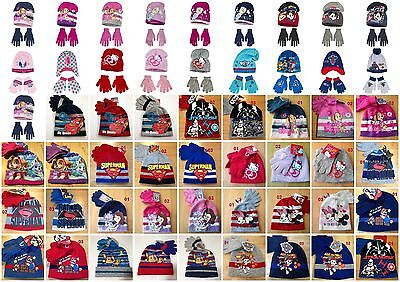 Boys Girls Kids Children Character Hat And Gloves Sets age 3-9 years  52-54cm