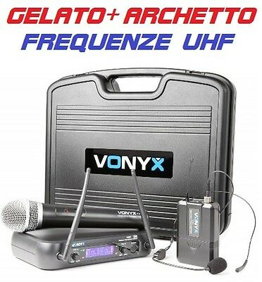 MICROFONI WIRELESS (senza filo) con display UHF ARCHETTO + GELATO pianobar live