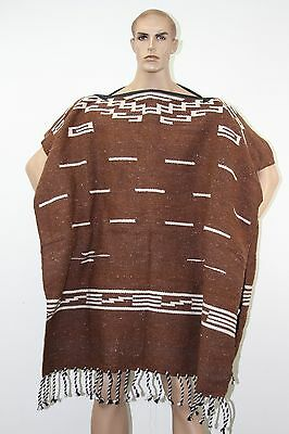 Hand Woven Brown Clint Eastwood Inspired Adult Poncho Blanket Costume Imported