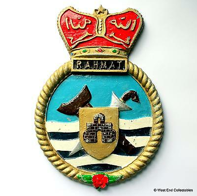 KD Rahmat F24 - LARGE Malaysian Navy Maritime Metal Tampion Plaque Badge Crest