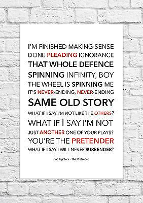 Foo Fighters - The Pretender - Song Lyric Art Poster - A4 Size