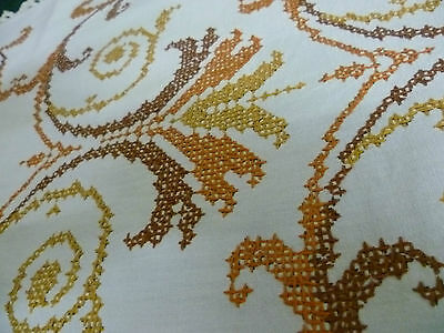 Vintage Hand Embroidered Large Table Runner  Deco Design  Cream  Crocheted Edge