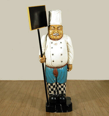 Old Vintage Rustic Painted Chef Statue w/Chalkboard Used/Consigned CF-F-354-na