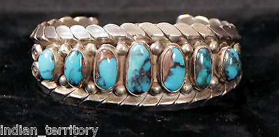 Navajo Indian Bracelet: Style 7 Oval Bisbee Turquoise Rows by Ella Dixon
