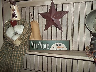 Wood Signs Country Home Decor Block Winter Blessings,Winter Welcome, Snowman