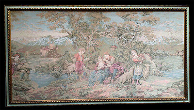 "Antique Large Framed Tapestry Rococo Revival 77"" X 42"" Gorgeous!"