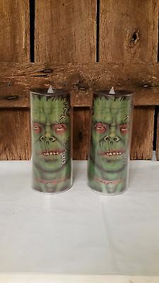 Frankenstein Halloween Acrylic LED Candle Light Up Set of 2 Flickering Candles