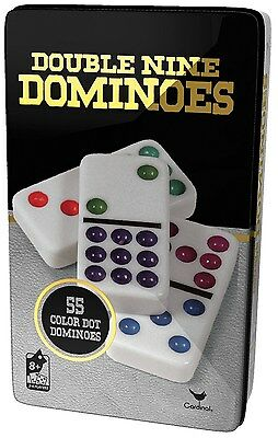 Double 9 Color Dot Dominoes in Tin - New