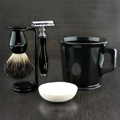Safety Razor Badger Hair Shaving Brush Stand Derby Double Edge Blades Black Set