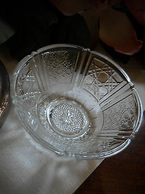 Indiana Glass Colony Baroque Daisy Button Style Clear Bowl Candy Dish VINTAGE