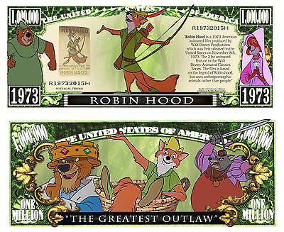 ROBIN DES BOIS - BILLET 1 MILLION DOLLAR US! Collection Walt DISNEY Hood Classic