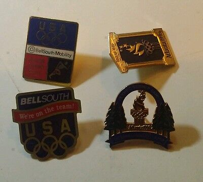 Lot 4 Collectible USA Olympic Pins Vintage Commerative Bellsouth Atlanta 1996
