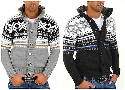 Mens Carisma Oversize Knitted Warm Winter Xmas Jumper with Pockets Grey Black