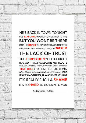 The Courteeners - That Kiss - Song Lyric Art Poster - A4 Size