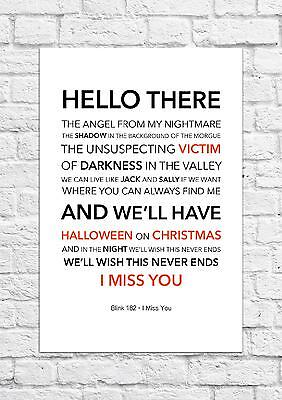 Blink 182 - I Miss You - Song Lyric Art Poster - A4 Size
