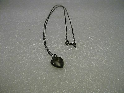 """Vintage Sterling Silver Necklace with Puffy Heart Pendant, 16"""""""