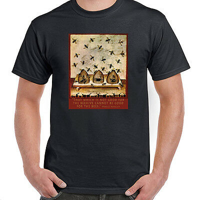 14th Century Bees & Beehives with Marcus Aurelius Quote T-Shirt Men Ladies Youth