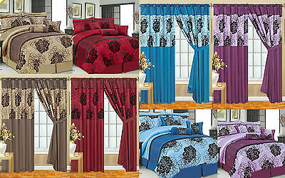 Premium Top Quality 7Pcs Comforter Set & Matching Fully Lined Curtains All Sizes