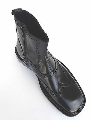 Made In Italy Short Boot Extremely Comfort Wing Tip All Leather Zeeper Side,