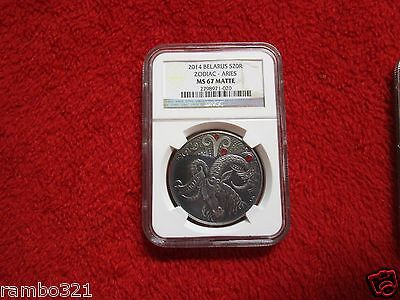 Belarus Zodiac Signs Aries Silver Coin NGC PF67 Antique Matte Finish Pop 1