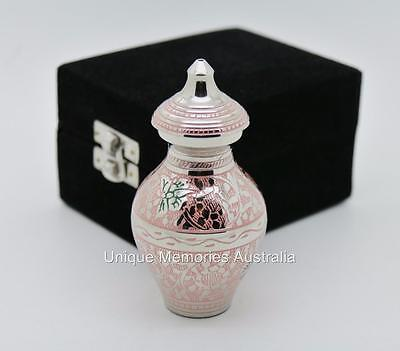 "4"" Brass Regal Multicolour Butterfly Cremation Keepsake Urn + Velvet Case"