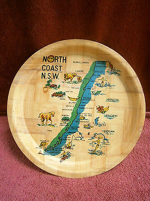 Vintage  North  Coast  New  South  Wales  Light  Pressed  Match  Wood  Tray