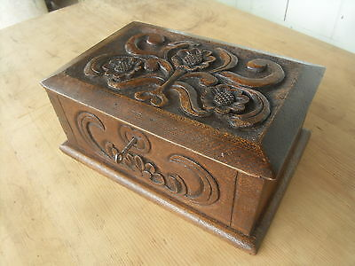 Small Victorian Antique Carved Oak Box / Chest ( Lockable )