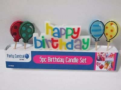 HAPPY BIRTHDAY BALLOON candle birthday party birthday cake CANDLES 5pce