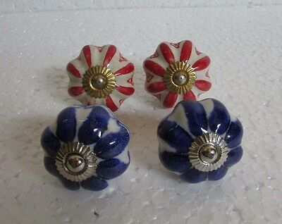 Lot of 4 Vintage style Multi Color CERAMIC Knobs Drawer / Door Handle Pulls