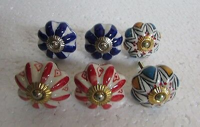 Lot of 6 Vintage style Multi Color CERAMIC Knobs Drawer / Door Handle Pulls