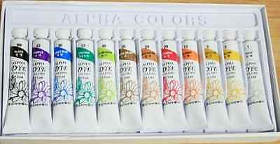 Brand New Dye Textile Fabric Paint Tubes 12 Colors Set 7.5m
