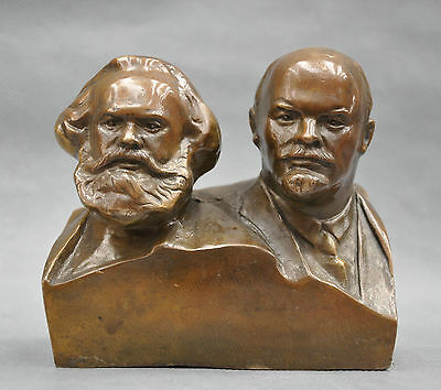 6'' Great Communist Marx And Lenin Bust Bronze Statue