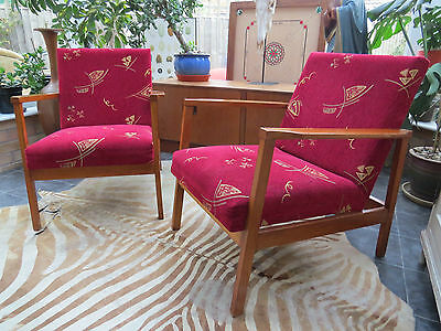A Pair Of Vintage Red Cocktail Lounge Armchairs C1975