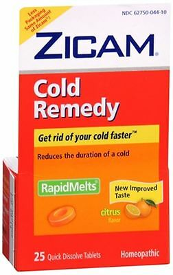 Zicam Cold Remedy RapidMelts with Vitamin C Citrus 25 Each (Pack of 8)