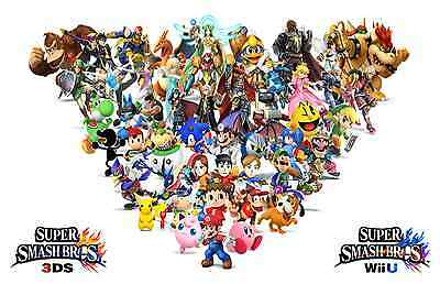 Fast Shipping New Super Smash Bro/'s Team Huge Poster  22 inch  x 34 inch