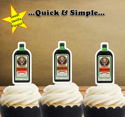 Jagermeister liquer Bottle EDIBLE wafer cupcake cake toppers STAND UP