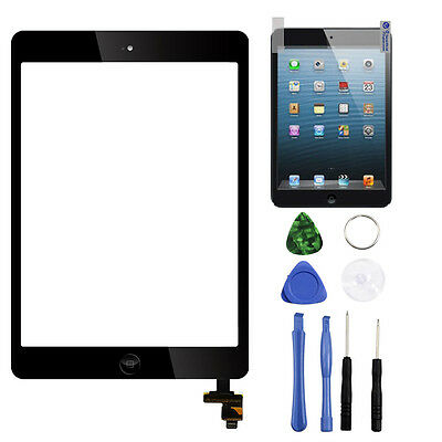 Black Touch Screen Glass Lens Digitiz Replacement+IC chip+Home For iPad mini 1 2