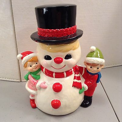 """8"""" Vintage Plaster Frosty The Snowman With Kids Christmas"""