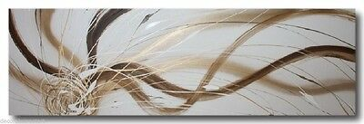 ABSTRACT CANVAS PAINTING white gold brown. Modern wall art Australia