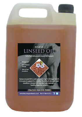 100% Pure Cold Pressed Linseed Oil - Improved Condition and Coat 5ltr for Horses