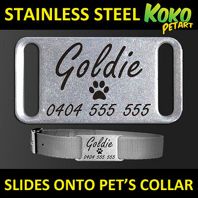 Stainless Steel Personalised Laser Engraved Silent Slider Collar Pet Dog Tag