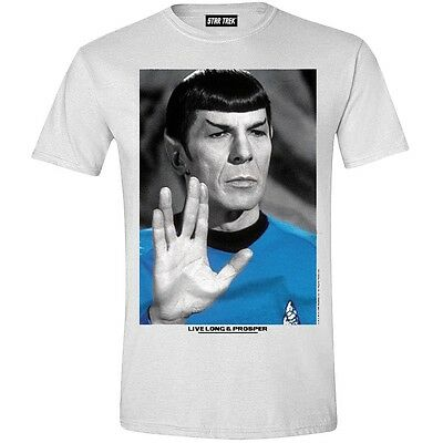Spock Live Long and Prosper Leonard Nemoy Star Trek Enterprise T-Shirt Weiss