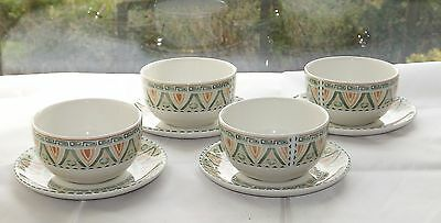Crown Staffordshire Tunis Pattern Set Of 4 x Soup / Cereal  Bowl & Stand1996
