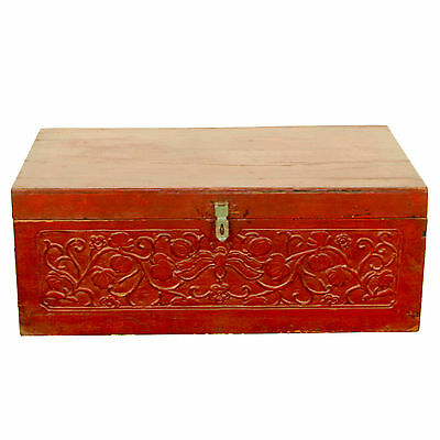 "Antique Asian Chinese 31"" Wide Red Trunk Chest w Beautuful Carvings on Front"