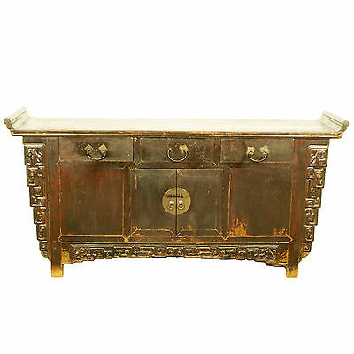 "Antique Chinese Asian 72"" Long Dark Brown Lacquer Buffet Sideboard Cabinet"