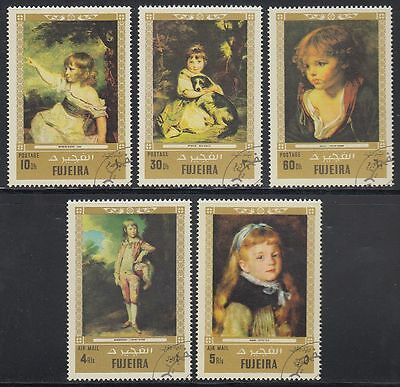Fujeira 1972 Mi.858/62 fine used c.t.o. Gemälde Paintings Renoir Gainsborough