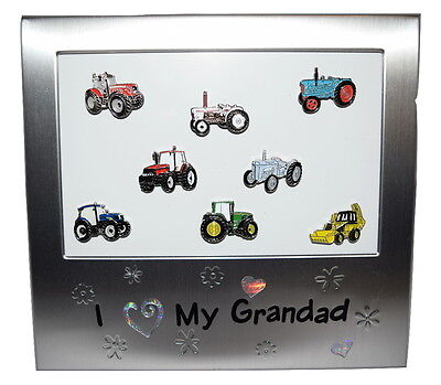 Tractor Picture Frame I Love My Grandad Gift Boxed 8 Tractors Chrome/Enamel