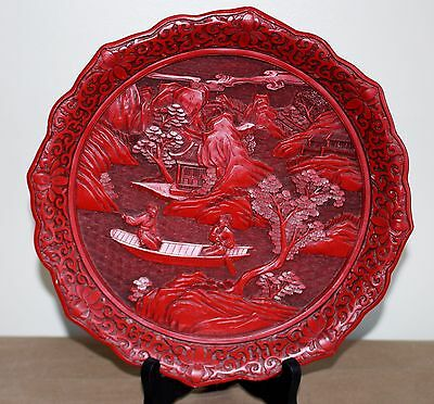 Chinese Old Red Lacquer Ware Carved Scene plate 9.5 inch