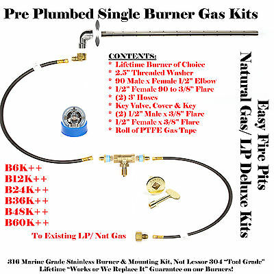 "B24K++ 24"" SINGLE BURNER SS316 Complete Deluxe Fire Table Pre Plumbed NG/ LP Kit"